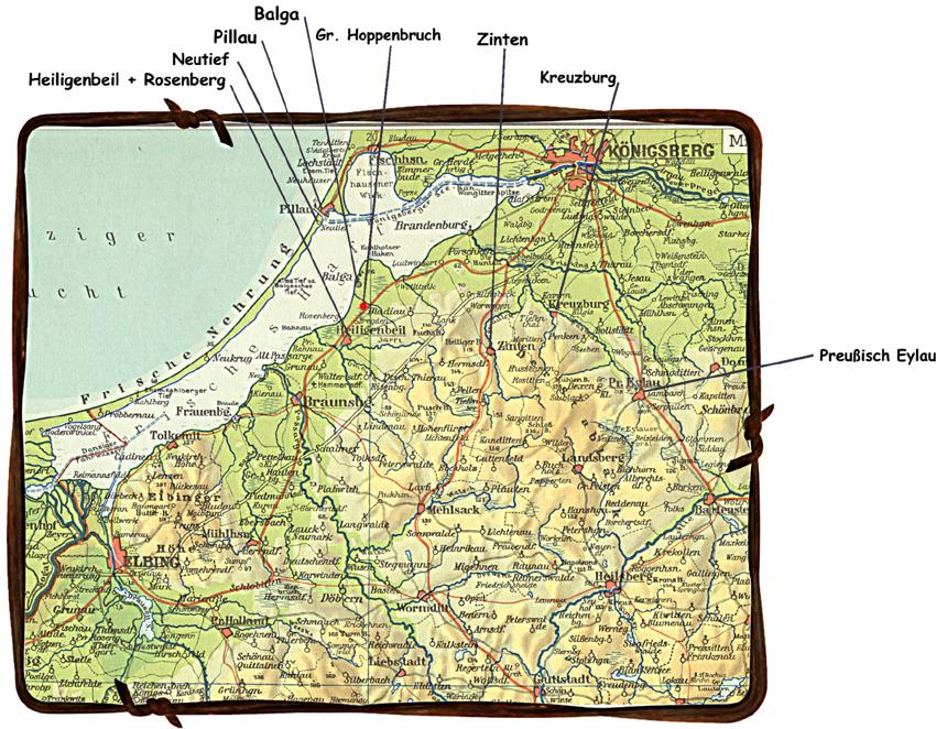 Karte Ostpreußen.Die Tragödie Ostpreußens